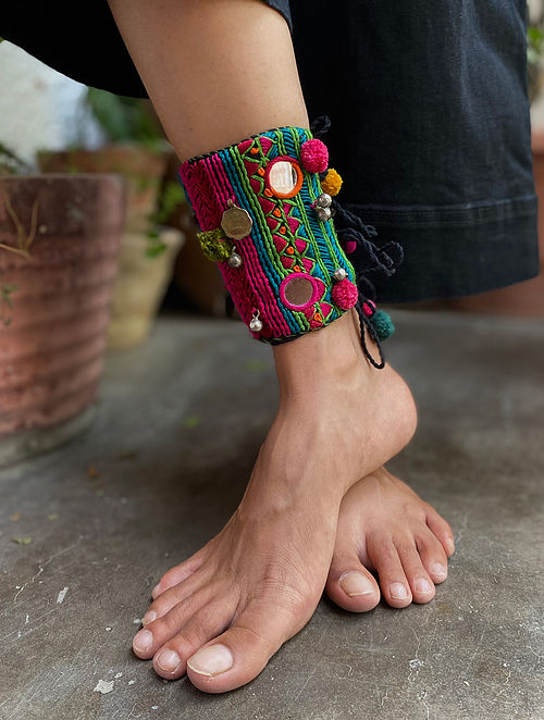 Multicolored Silver Tone Handcrafted Anklet