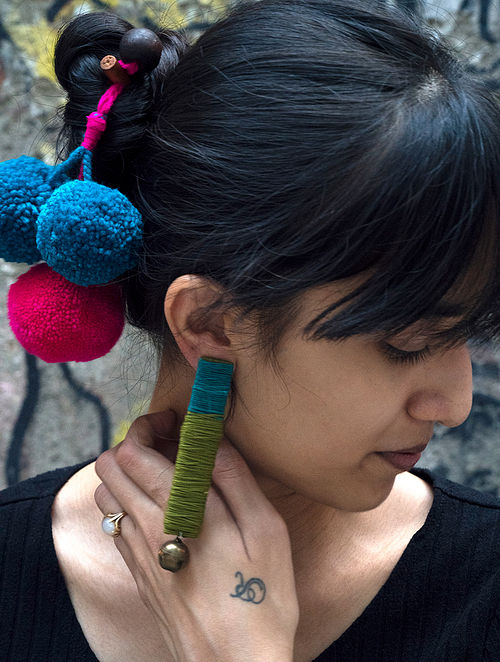 Green Blue Silver Tone Handcrafted Earrings With Ghungroo