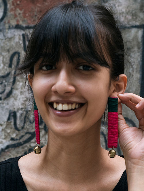 Pink Green Silver Tone Handcrafted Earrings With Ghungroo