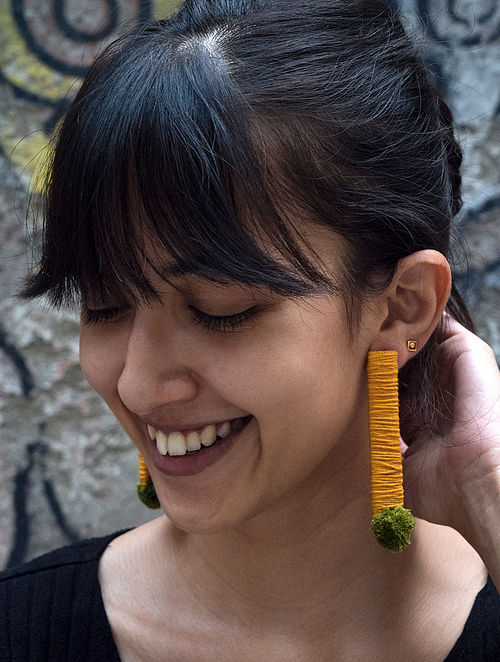 Yellow Green Handcrafted Earrings