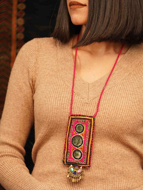 Multicolored Gold Tone Tribal Necklace