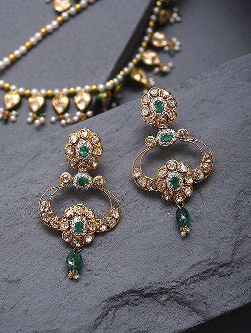 Gold And Diamond Polki Earrings With Emeralds