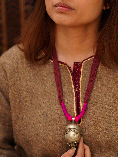 Maroon Pink Silver Tone Tribal Necklace