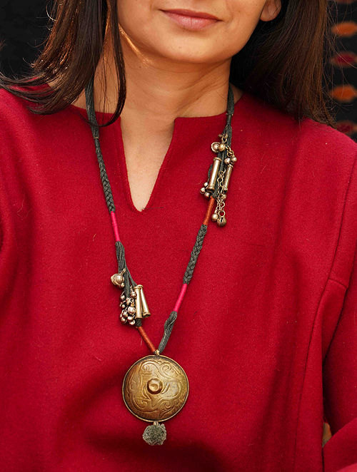 Black Pink Gold Tone Tribal Necklace