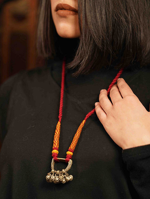 Red Yellow Silver Tone Tribal Necklace