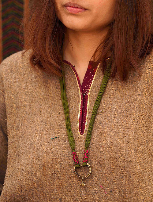 Green Pink Silver Tone Tribal Necklace