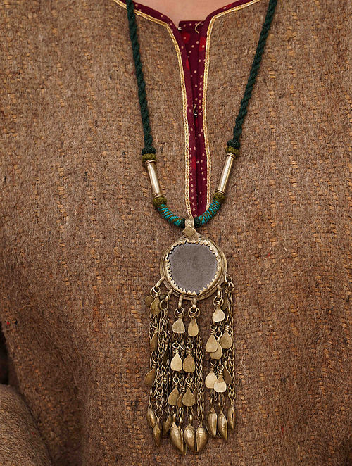 Blue Green Silver Tone Tribal Necklace