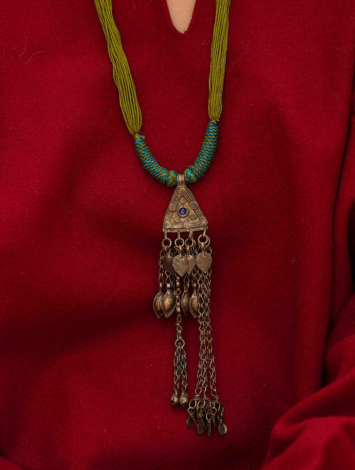 Green Blue Silver Tone Tribal Necklace