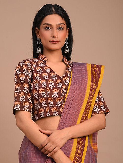 Brown Handwoven Block Printed Cotton Blouse