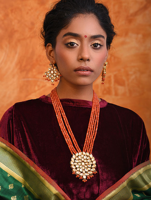 Orange Gold Tone Kundan Necklace With Earrings