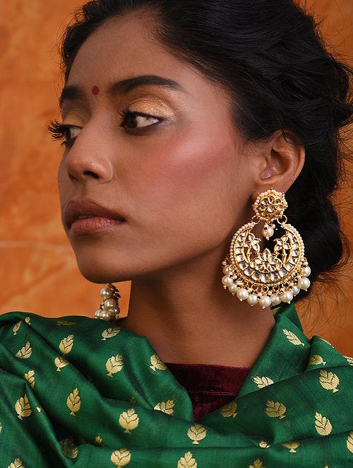 White Gold Tone Kundan Chandbali Earrings With Pearls