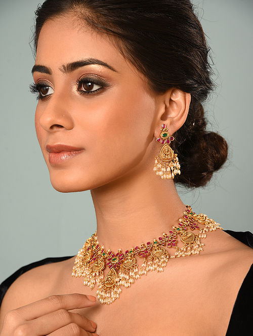 Red Green Gold Tone Temple Necklace And Earrings With Pearls