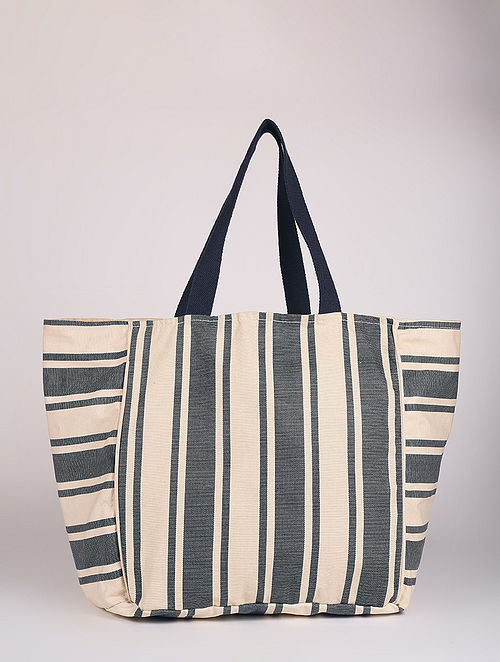 Grey White Handcrafted Canvas Tote Bag