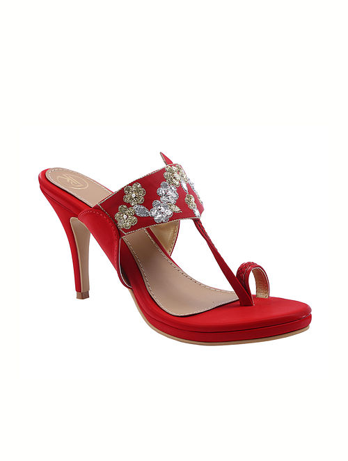 Red Handcrafted Faux Leather Kolhapuri Pencil Heels