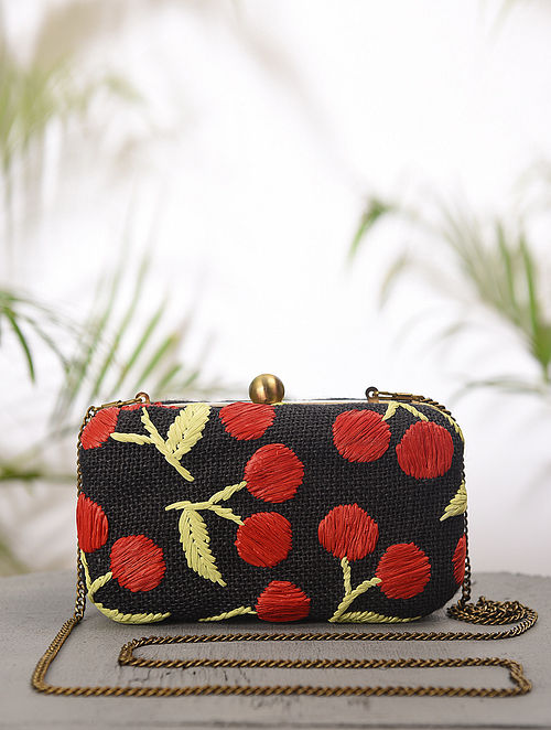 Black Red Handcrafted Jute Cotton Clutch