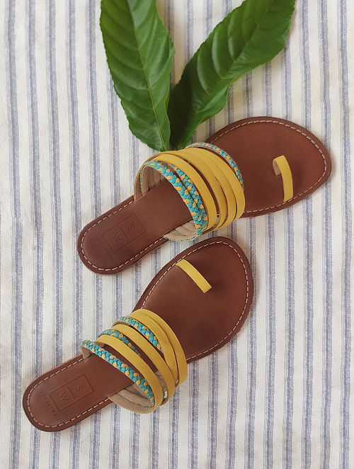 Yellow Turquoise Handcrafted Leather Flats