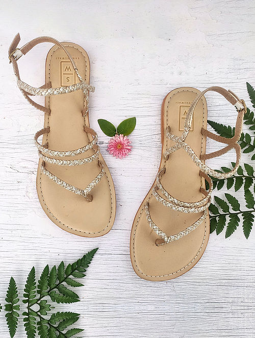 Gold Silver Handcrafted Leather Sandals
