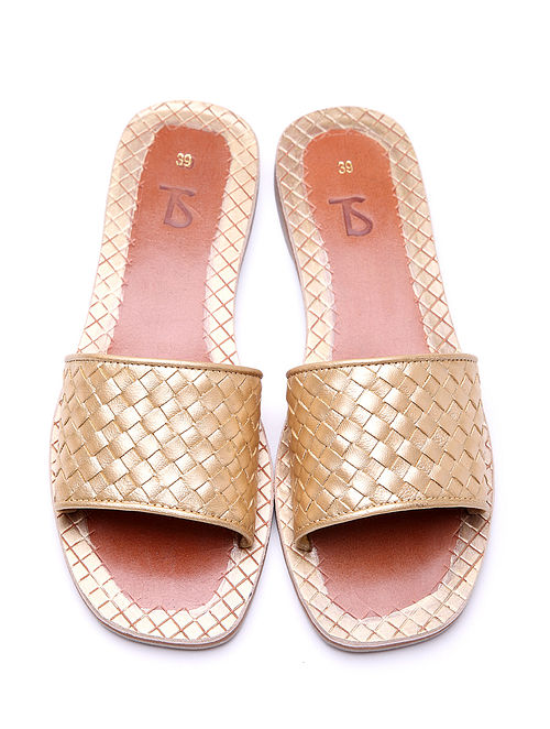 Gold Handwoven Genuine Leather Flats