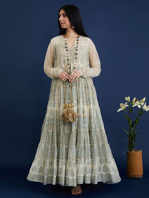 Blue and Beige Block Printed Cotton Chanderi Dress