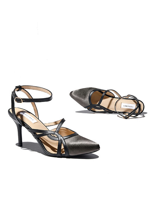 Grey Black Handcrafted Satin Leather Pencil Heels