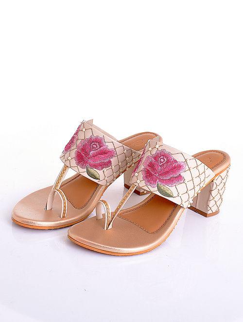 Pink Cream Handcrafted Faux Leather Kolhapuri Block Heels