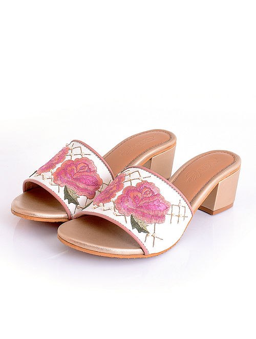 Pink Cream Handcrafted Faux Leather Block Heels