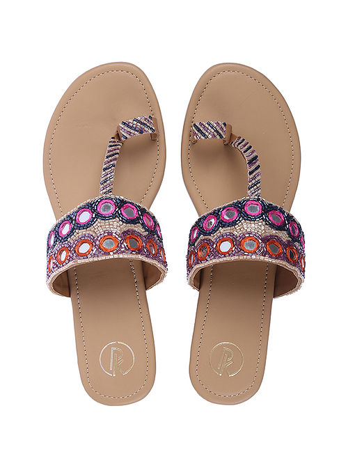 Multicolored Handcrafted Faux Leather Kolhapuri Flats