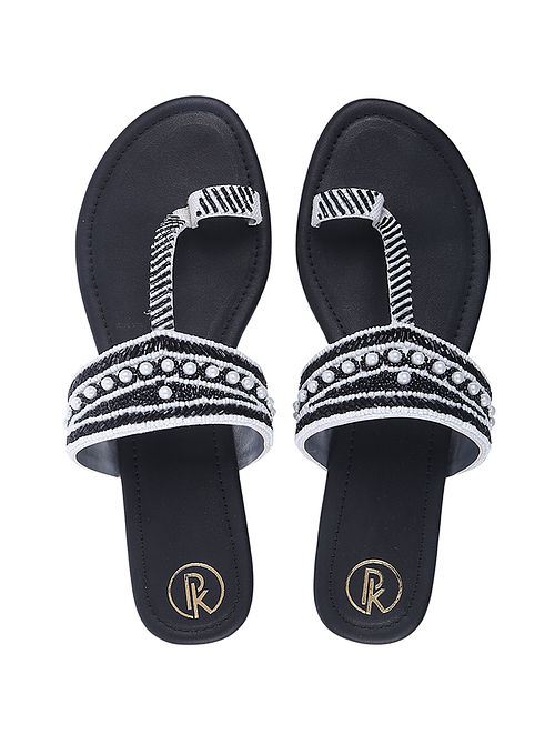Black White Handcrafted Faux Leather Kolhapuri Flats