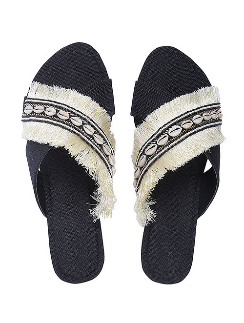 White Handcrafted Jute Flats