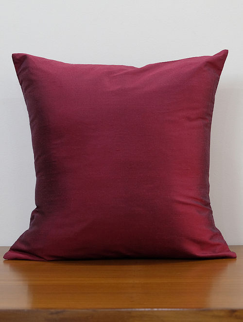 Solid Dark Maroon Silk Poly Blend Cushion Cover (L - 16in ,W - 16in)
