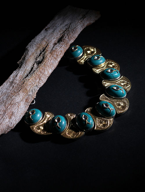 Gold Plated Tribal Silver Necklace with Turquoise