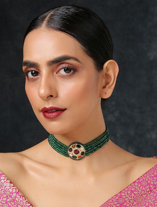 Multicolored Navratan Gold Tone Beaded Choker Necklace