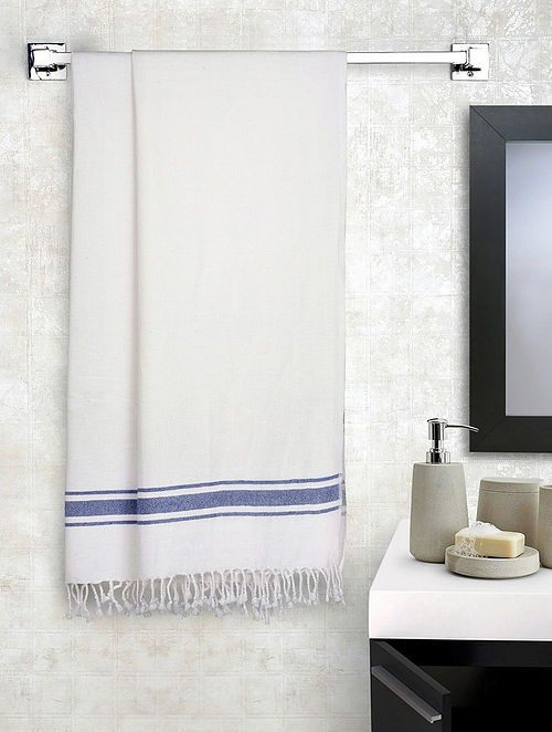 Blue Cotton Solid Bath Towels Set of 2 (L-56in, W-28in)