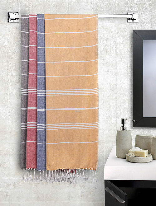 Multi Cotton Striped Bath Towels Set of 4 (L-60in, W-30in)