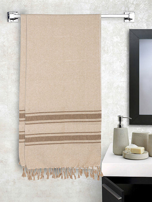 Beige Cotton Striped Bath Towels Set of 2 (L-60in, W-30in)