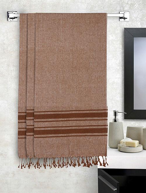 White Cotton Striped Bath Towels Set of 3 (L-60in, W-30in)