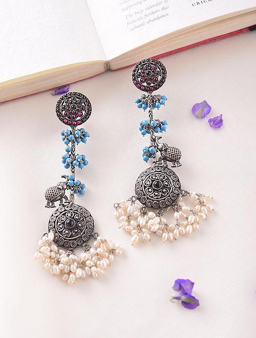 Maroon Blue Kempstone Encrusted Temple Silver Earrings With Pearls