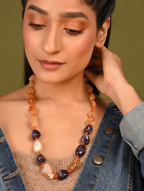 Multicolored Beaded Necklace With Citrine Amethyst And Carnelian