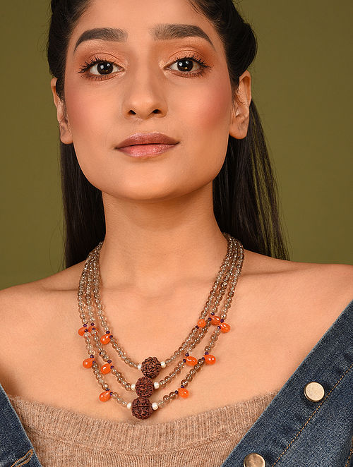 Brown Orange Beaded Layered Necklace With Smoky Topaz Carnelian And Rudraksh