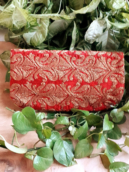 Red Handcrafted Raw Silk Leather Sling Bag