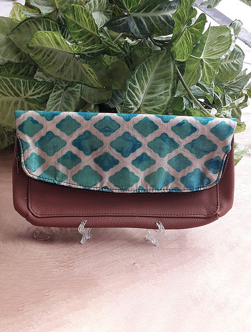 Green Handcrafted Raw Silk Leather Sling Bag