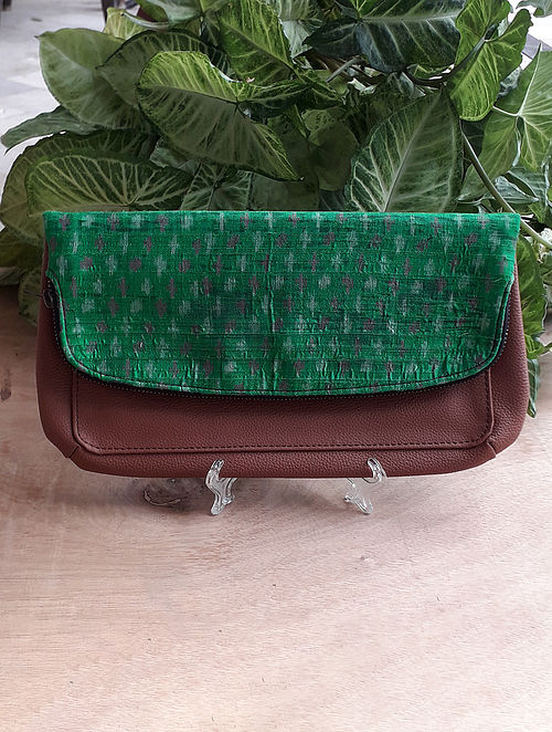 Green Handcrafted Ikat Silk Leather Sling Bag