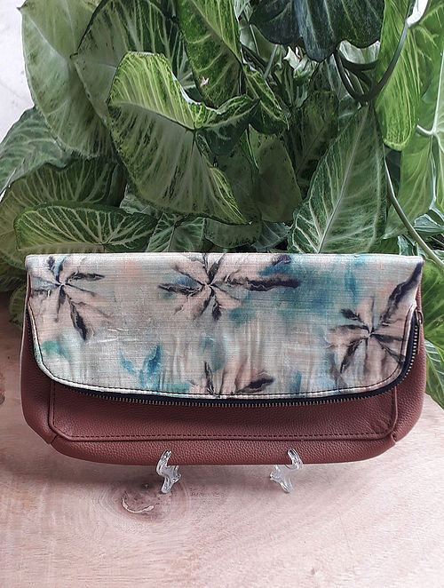 Beige Handcrafted Raw Silk Leather Sling Bag