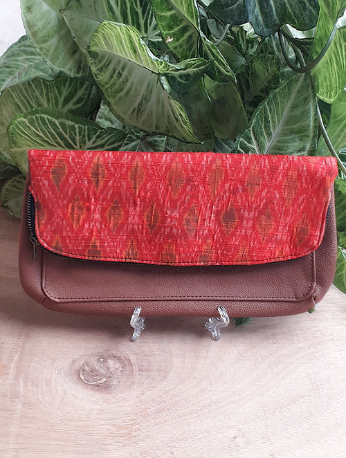 Red Handcrafted Ikat Silk Leather Sling Bag