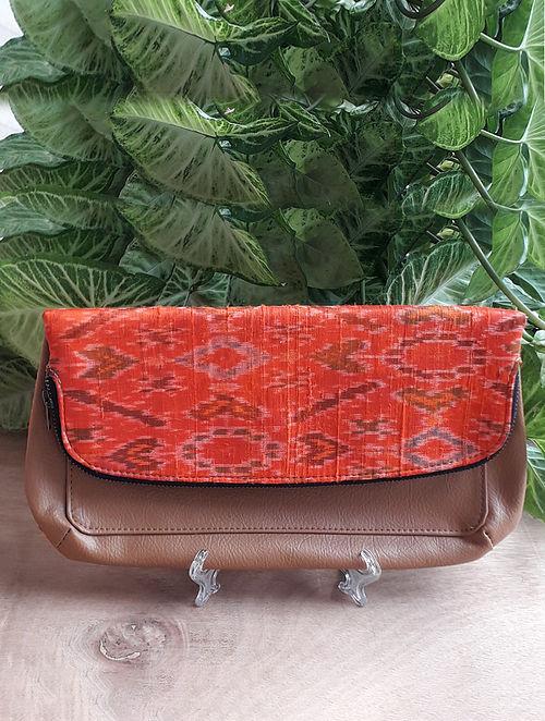 Orange Handcrafted Ikat Silk Leather Sling Bag