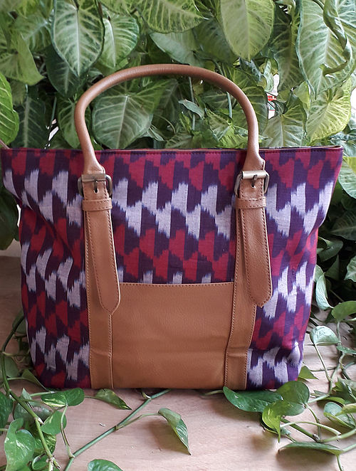 Purple Handcrafted Ikat Cotton Leather Tote Bag