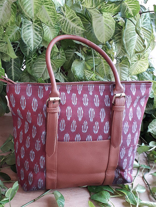 Maroon Handcrafted Ikat Cotton Leather Tote Bag