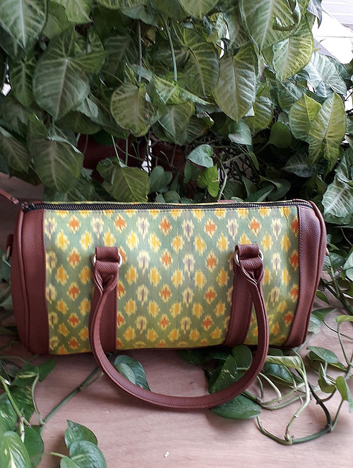 Yellow Handcrafted Ikat Cotton Leather Duffle Bag