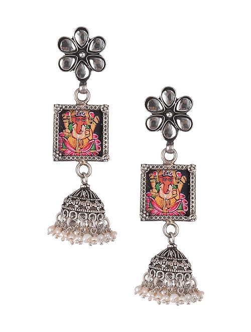 Multicoloured Tribal Silver Earrings With Pearls