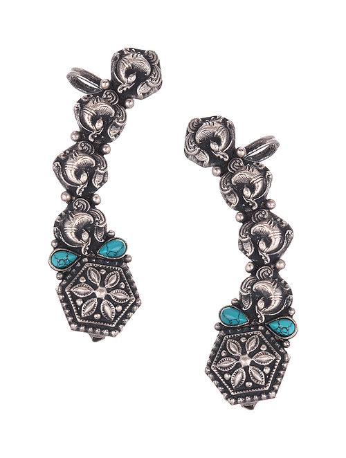 Tribal Silver Earcuffs with Turquoise